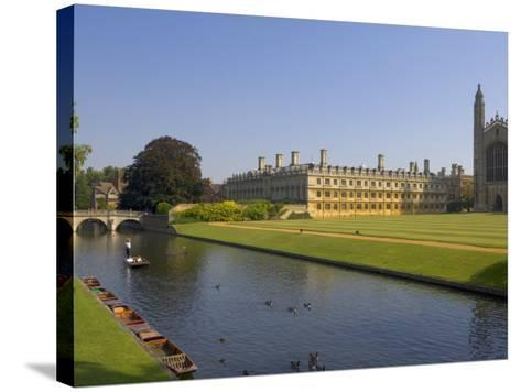 Clare College and Kings College Chapel, Cambridge, Cambridgeshire, England, United Kingdom, Europe-Neale Clarke-Stretched Canvas Print