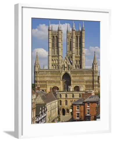West Front of Lincoln Cathedral and Exchequer Gate, Lincoln, Lincolnshire, England, United Kingdom-Neale Clarke-Framed Art Print