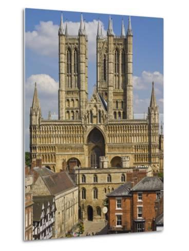 West Front of Lincoln Cathedral and Exchequer Gate, Lincoln, Lincolnshire, England, United Kingdom-Neale Clarke-Metal Print