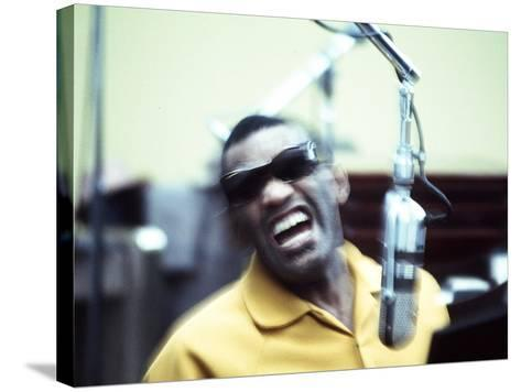 Ray Charles in the Recording Studio--Stretched Canvas Print