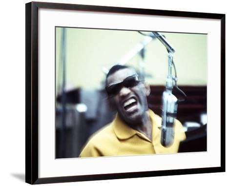 Ray Charles in the Recording Studio--Framed Art Print