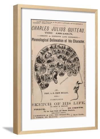 Phrenological Chart of the Brain of Charles J. Guiteau, Assassin of President James Garfield, 1880s--Framed Art Print