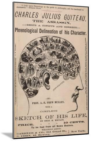 Phrenological Chart of the Brain of Charles J. Guiteau, Assassin of President James Garfield, 1880s--Mounted Photo