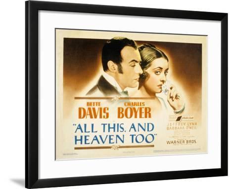 All This and Heaven Too, Charles Boyer, Bette Davis, 1940--Framed Art Print