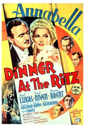 Dinner at the Ritz, David Niven, Annabella, 1937--Stretched Canvas Print