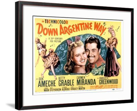 Down Argentine Way, Betty Grable, Don Ameche, Carmen Miranda, 1940--Framed Art Print