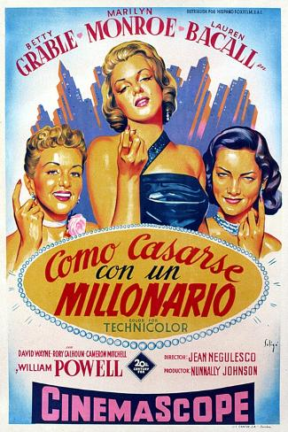 How to Marry a Millionaire, Betty Grable, Marilyn Monroe, Lauren Bacall, 1953--Stretched Canvas Print