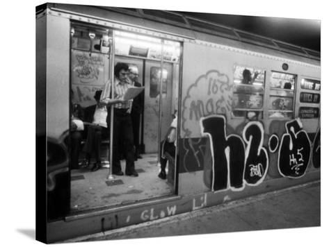 1970s America, Graffiti on a Subway Car on the Lexington Avenue Line. New York City, New York, 1972--Stretched Canvas Print