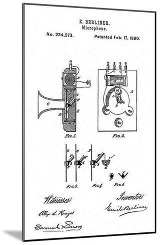 Early Recording Device: the Berliner Microphone Patent, 1880--Mounted Photo