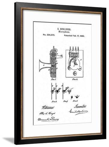 Early Recording Device: the Berliner Microphone Patent, 1880--Framed Art Print