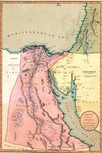 1803 Map of Egypt, with Part of Arabia and Palestine--Stretched Canvas Print