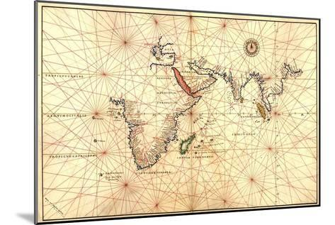 1544 Nautical Map of the Indian Ocean with Terra Incognito or Unknown Land--Mounted Photo