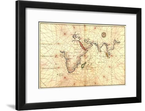 1544 Nautical Map of the Indian Ocean with Terra Incognito or Unknown Land--Framed Art Print