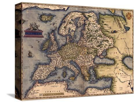 1570 Map of Europe. from Abraham Ortelius' Atlas, Theatrvm Orbis Terrarvm--Stretched Canvas Print