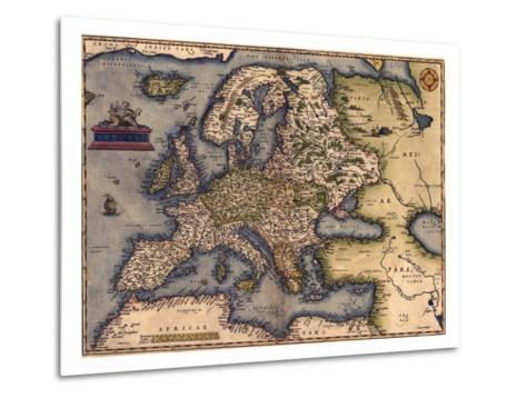 1570 Map of Europe. from Abraham Ortelius' Atlas, Theatrvm Orbis Terrarvm--Metal Print