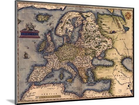 1570 Map of Europe. from Abraham Ortelius' Atlas, Theatrvm Orbis Terrarvm--Mounted Photo