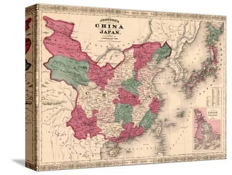 1868 Map of China and Japan, Showing Provincial Boundaries--Stretched Canvas Print