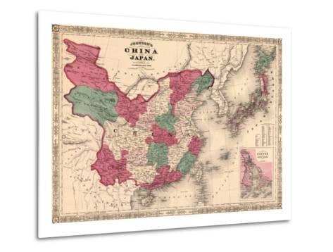 1868 Map of China and Japan, Showing Provincial Boundaries--Metal Print