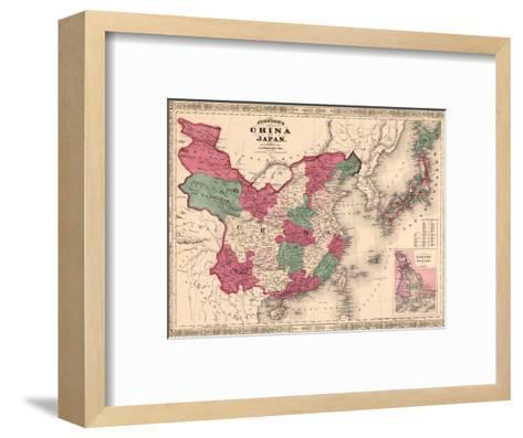 1868 Map of China and Japan, Showing Provincial Boundaries--Framed Art Print