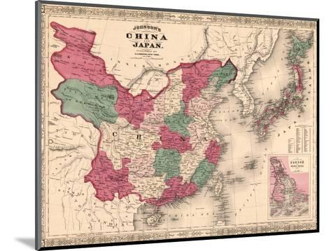 1868 Map of China and Japan, Showing Provincial Boundaries--Mounted Photo