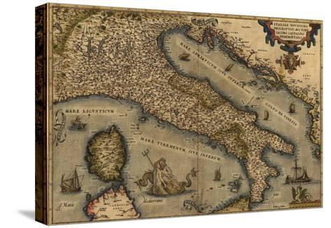 1570 Map of Italy from Abraham Ortelius Atlas, Theatrvm Orbis Terrarvm--Stretched Canvas Print