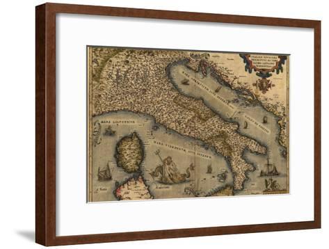 1570 Map of Italy from Abraham Ortelius Atlas, Theatrvm Orbis Terrarvm--Framed Art Print