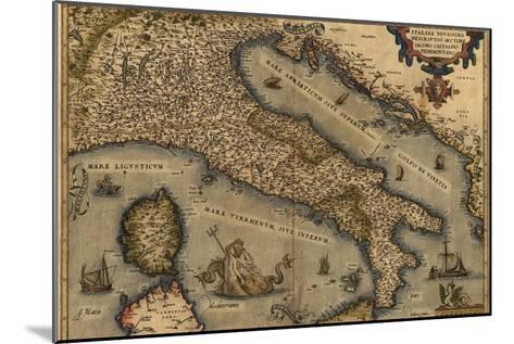 1570 Map of Italy from Abraham Ortelius Atlas, Theatrvm Orbis Terrarvm--Mounted Photo