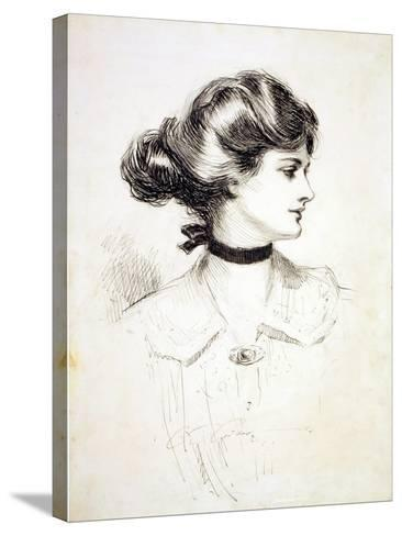 """1909 Drawing by Charles Dana Gibson, """"A Daughter of the South,"""" Shows a Classic Gibson Girl--Stretched Canvas Print"""