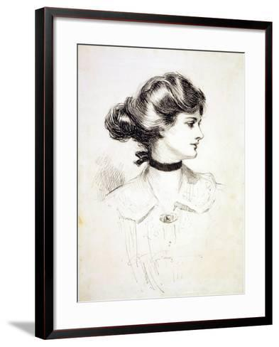 """1909 Drawing by Charles Dana Gibson, """"A Daughter of the South,"""" Shows a Classic Gibson Girl--Framed Art Print"""