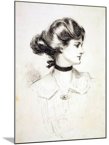"""1909 Drawing by Charles Dana Gibson, """"A Daughter of the South,"""" Shows a Classic Gibson Girl--Mounted Photo"""