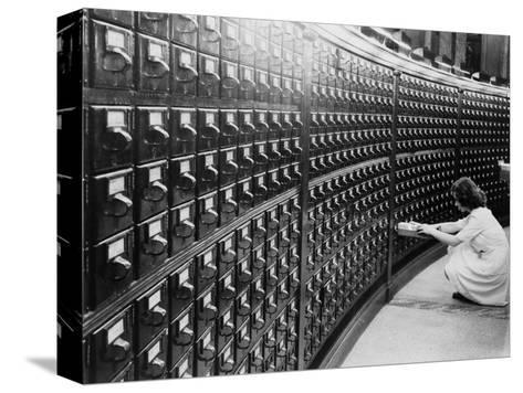 Woman Using the Card Catalog at the Main Reading Room of the Library of Congress, 1940--Stretched Canvas Print