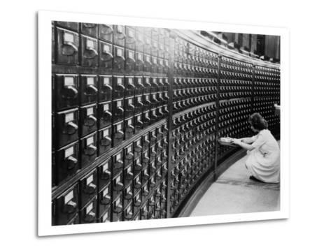 Woman Using the Card Catalog at the Main Reading Room of the Library of Congress, 1940--Metal Print