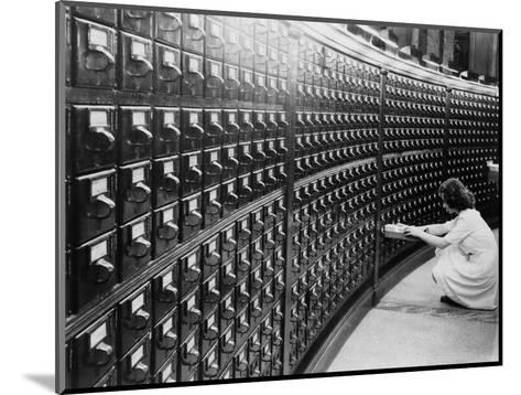 Woman Using the Card Catalog at the Main Reading Room of the Library of Congress, 1940--Mounted Photo