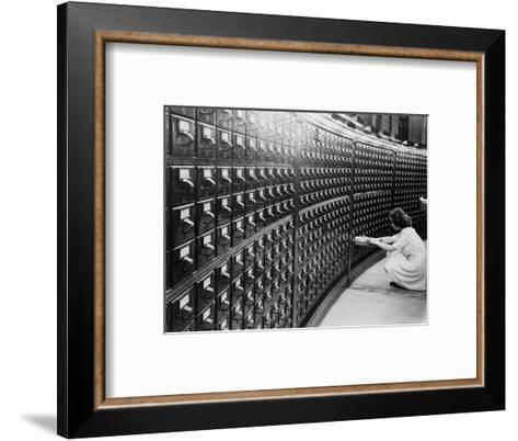 Woman Using the Card Catalog at the Main Reading Room of the Library of Congress, 1940--Framed Art Print