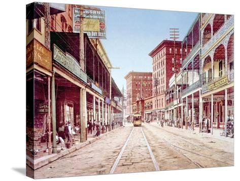 St. Charles Street in New Orleans, 1900--Stretched Canvas Print