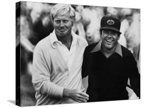 Jack Nicklaus, Lee Trevino, at U.S. Open Championship in Pebble Beach, California, June 18, 1972--Stretched Canvas Print
