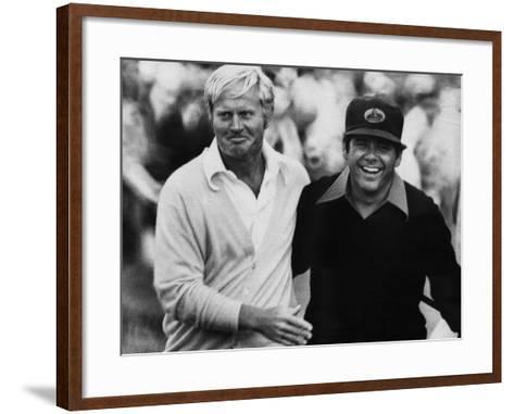 Jack Nicklaus, Lee Trevino, at U.S. Open Championship in Pebble Beach, California, June 18, 1972--Framed Art Print