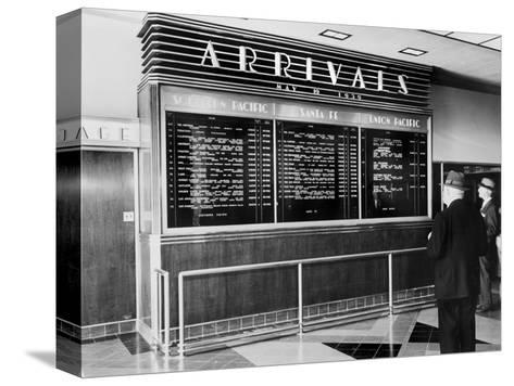 Los Angeles, Arrival Board at Union Station, Los Angeles, California, May 19, 1939--Stretched Canvas Print