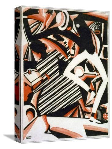 Drawing in Two Colors, or Interpretation of Harlem Jazz, Painting by Winold Reiss, 1915-1920--Stretched Canvas Print