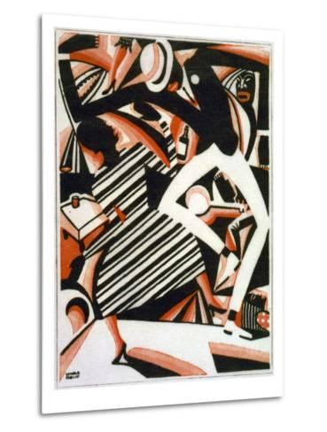 Drawing in Two Colors, or Interpretation of Harlem Jazz, Painting by Winold Reiss, 1915-1920--Metal Print