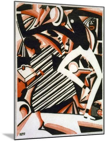 Drawing in Two Colors, or Interpretation of Harlem Jazz, Painting by Winold Reiss, 1915-1920--Mounted Photo