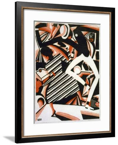 Drawing in Two Colors, or Interpretation of Harlem Jazz, Painting by Winold Reiss, 1915-1920--Framed Art Print