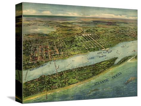 1915 Aerial View of West Palm Beach, North Palm Beach and Lake Worth, Florida--Stretched Canvas Print