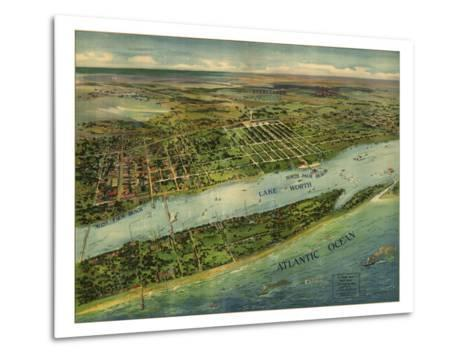 1915 Aerial View of West Palm Beach, North Palm Beach and Lake Worth, Florida--Metal Print