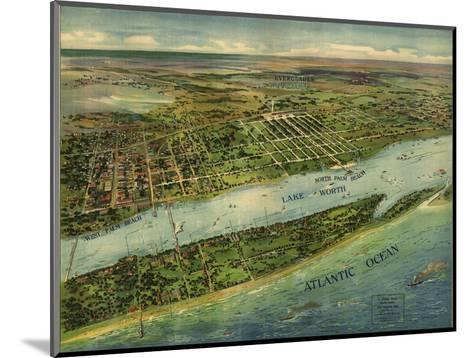 1915 Aerial View of West Palm Beach, North Palm Beach and Lake Worth, Florida--Mounted Photo