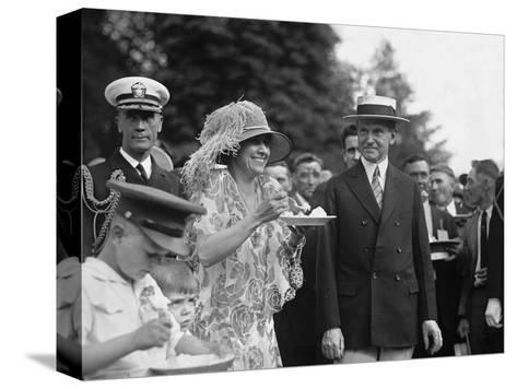President Calvin Coolidge Smiles Along with His Wife at a White House Garden Party in June 1926--Stretched Canvas Print
