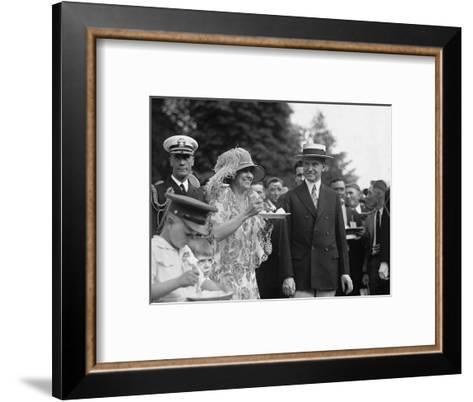 President Calvin Coolidge Smiles Along with His Wife at a White House Garden Party in June 1926--Framed Art Print