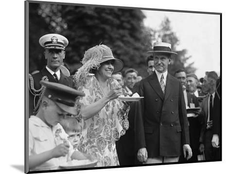 President Calvin Coolidge Smiles Along with His Wife at a White House Garden Party in June 1926--Mounted Photo