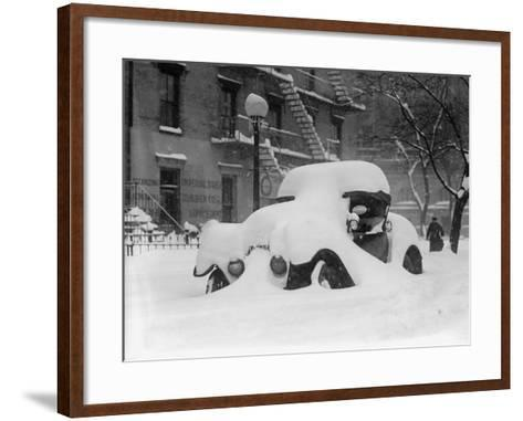 1920's Model Car Is Covered with Snow after a January 1922 Blizzard in Washington, D.C--Framed Art Print