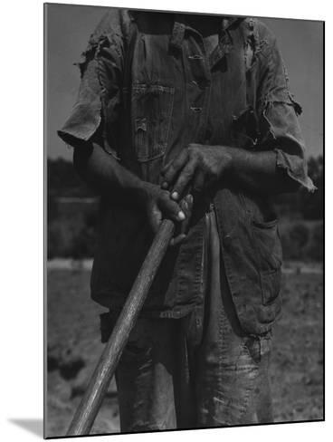 Alabama African American Tenant Farmer Holding a Hoe, June 1936-Dorothea Lange-Mounted Photo